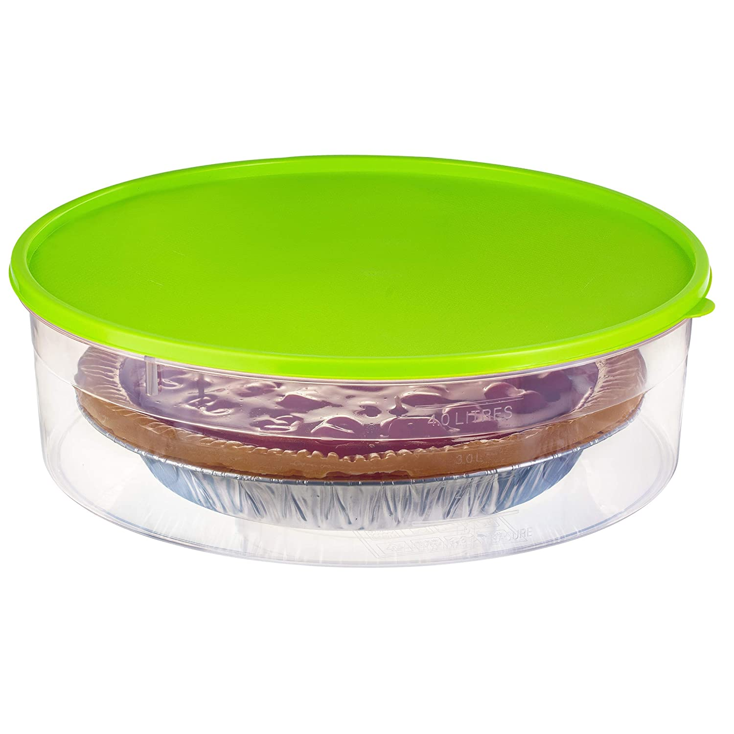 "Zilpoo Plastic Pie Container with Lid, 10.5"", Cupcake Carrier, Muffin, Tart, Cookie, Cake Holder, Round Freezer Storage Food Keeper with Cover, Green"