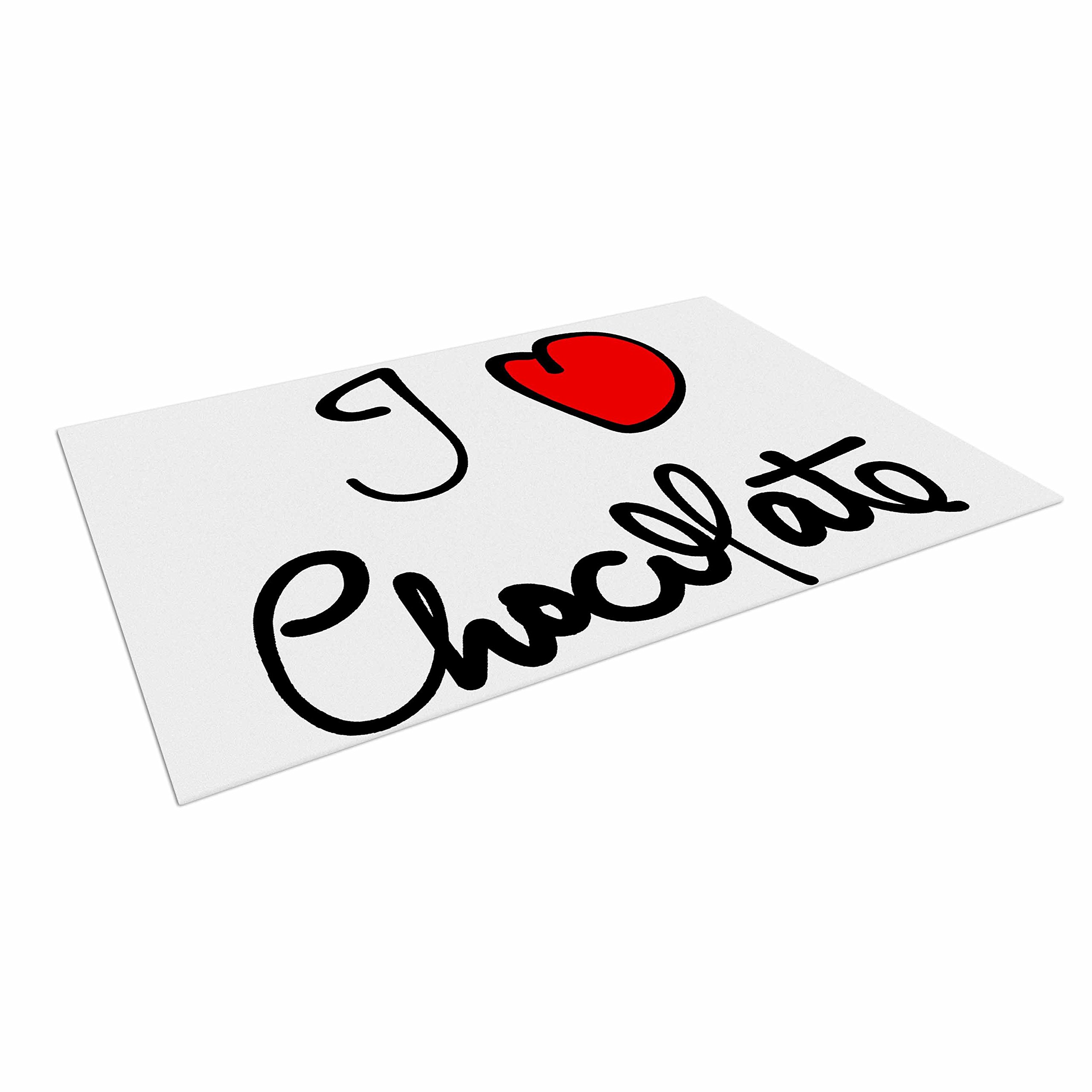 KESS InHouse Gabriela Fuente ''I Love Chocolate'' Food Typography Outdoor Floor Mat, 4' x 5'