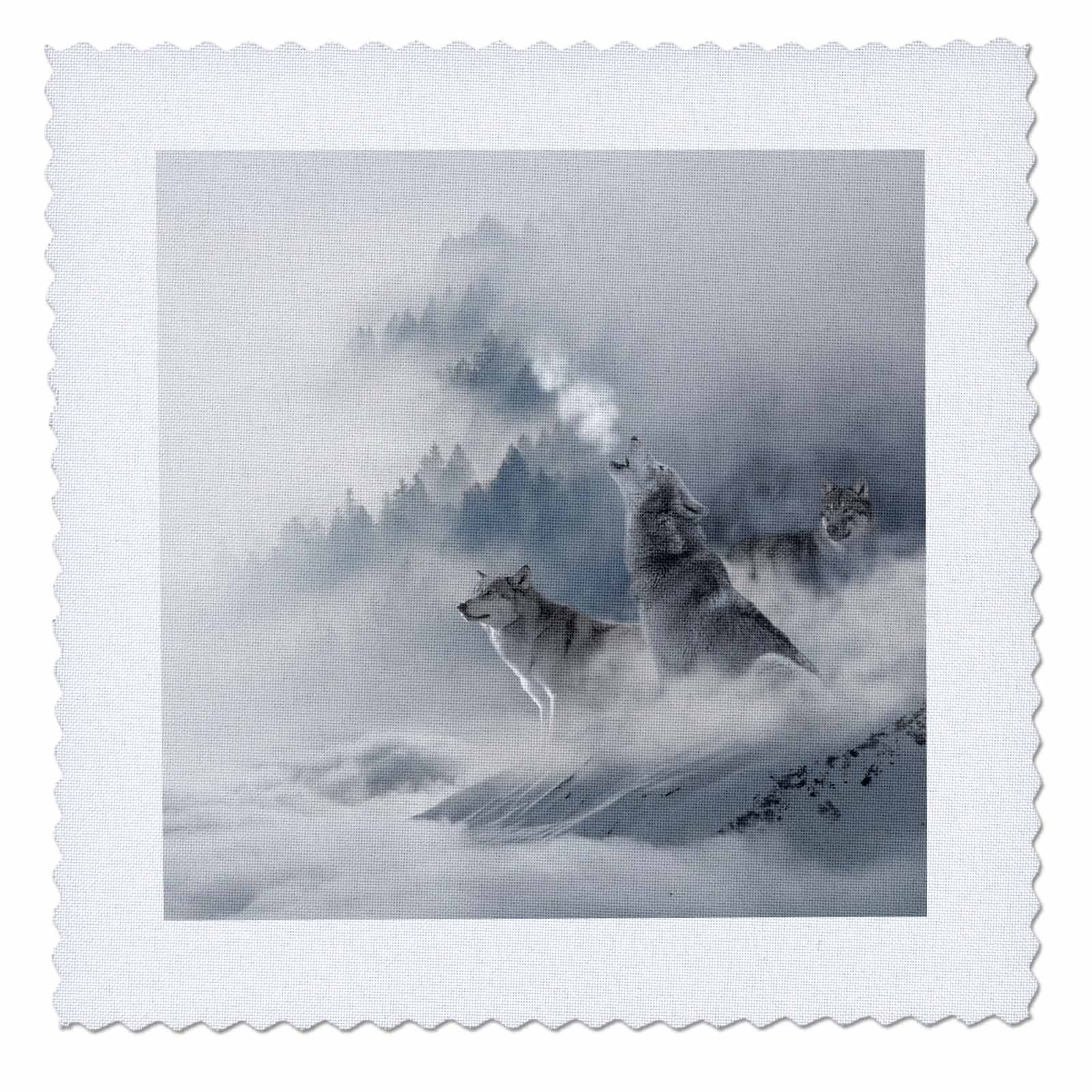 3dRose qs_268975_4 Crying Wolves in Winter Mountains Fantasy Wolf Animal Photography Quilt Square, 12'' x 12'' by 3dRose (Image #1)