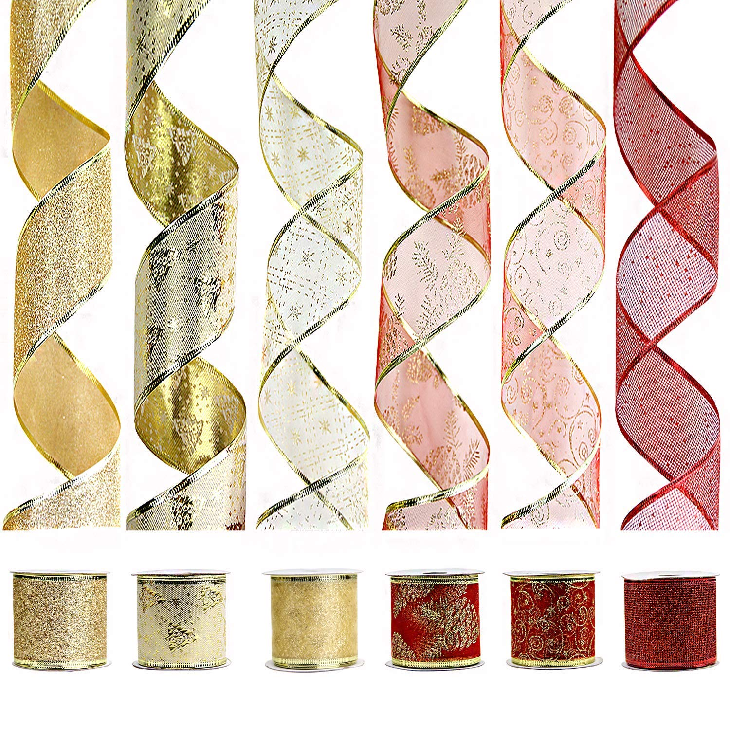 by 2-1//2 inch 36 Yards 6 Roll x 6 yd VATIN Wired Halloween Ribbon Assorted Swirl Sheer Organza Glitter Crafts Gift Wrapping Holiday Ribbons Halloween Design Decorations