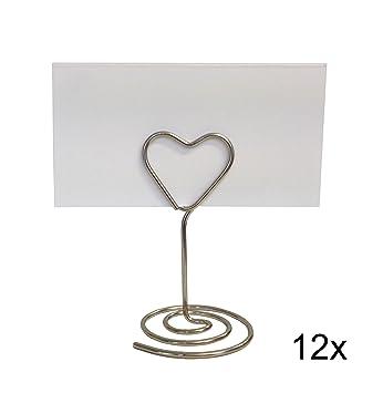 Einssein 12x Tischkartenhalter Hochzeit Herz Wired Silber Small