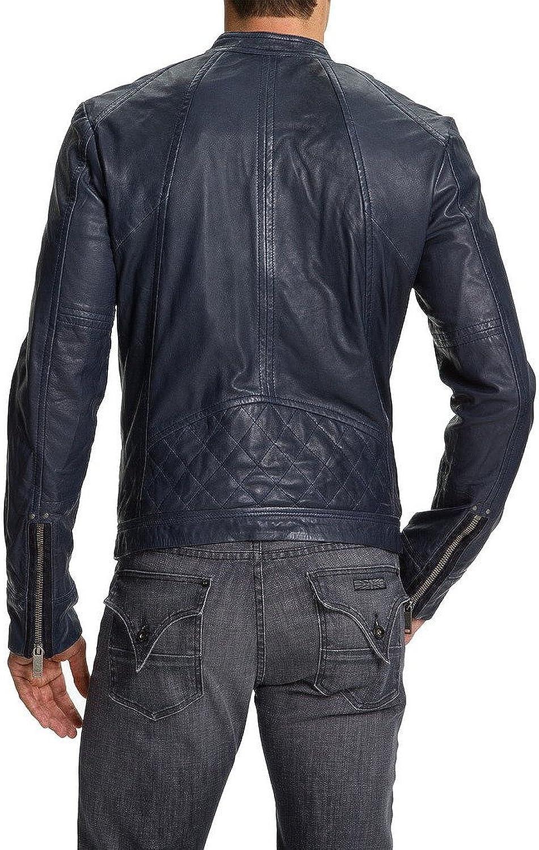 New Mens Leather Jacket Slim Fit Biker Motorcycle Genuine Leather Coat T546