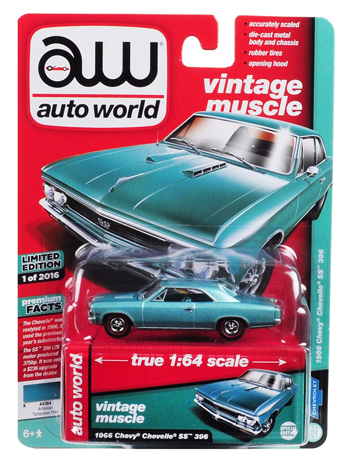 1966 Chevrolet Chevelle SS Artesian Turquoise Limited Edition to 2,016  Pieces Worldwide 1/64 Diecast Model Car by Autoworld AWSP012