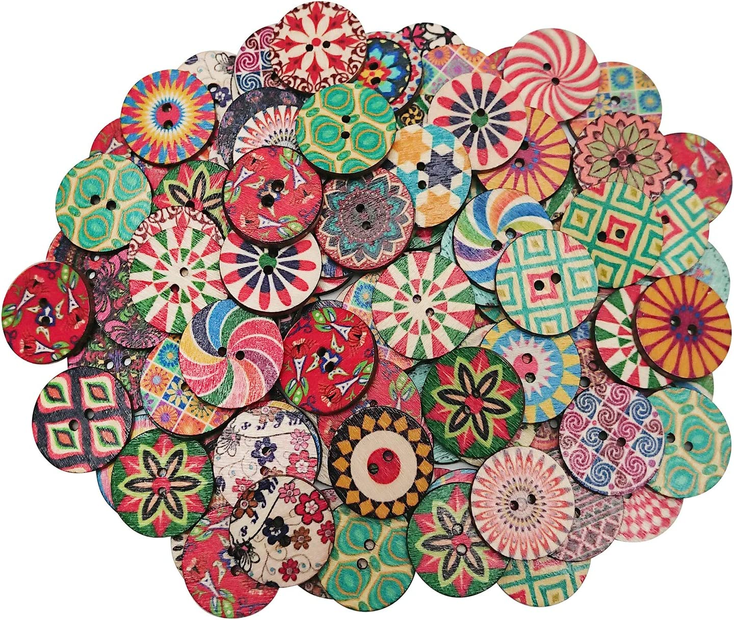 Hulless Wood Buttons Mixed 100 Holes Buttons 10 Inch Buttons Vintage Assorted  Buttons Decorative Buttons Flower Buttons Round Buttons for DIY Sewing