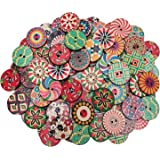 Hulless Wood Buttons Mixed 2 Holes Buttons 1 Inch Buttons Vintage Assorted Buttons Decorative Buttons Flower Buttons Round Buttons for DIY Sewing Craft 100 Pcs.