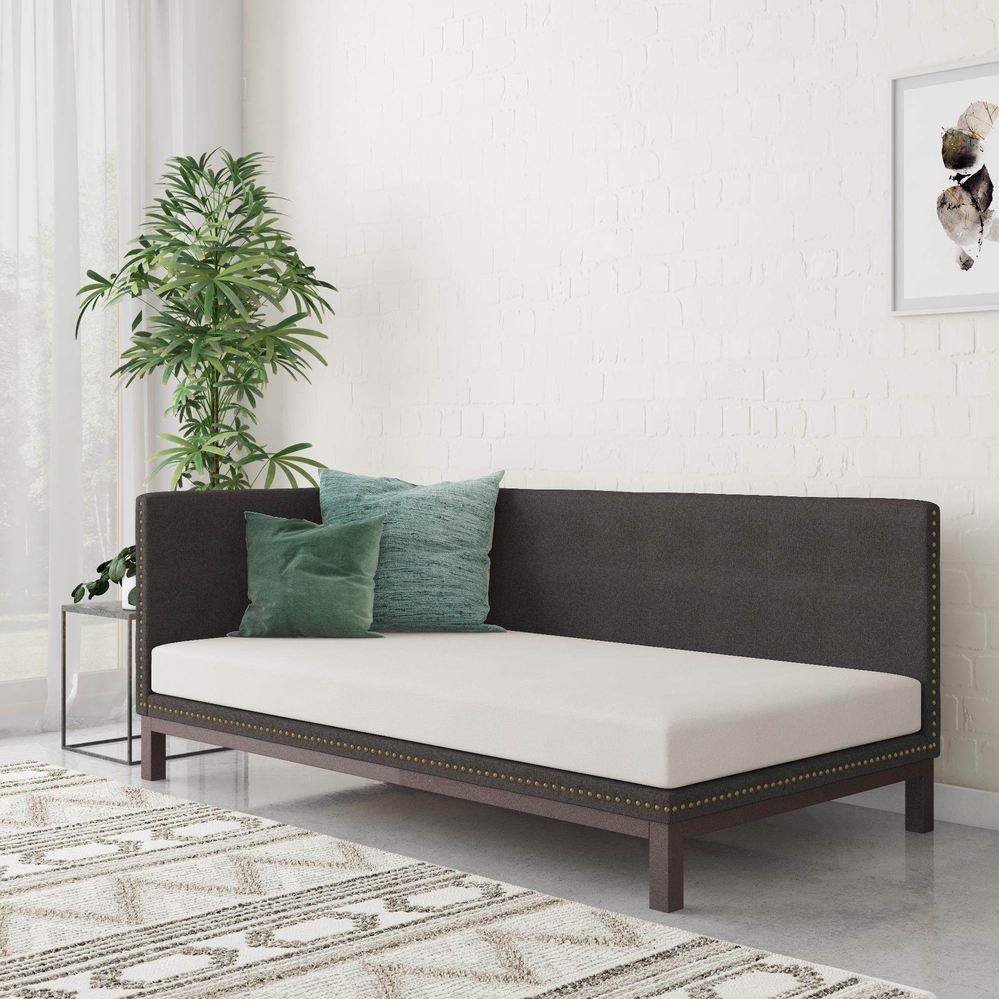 DHP Dale Upholstered Daybed/Sofa Bed Frame, Twin Size, Grey Linen by DHP