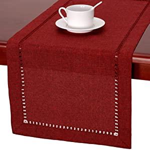 Grelucgo Handmade Hemstitched Polyester Rectangle Table RunnersAnd Dresser Scarves, Cranberry 14x48 inch