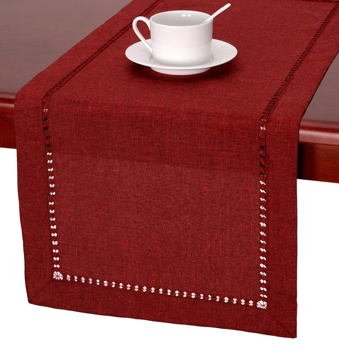 Handmade Hemstitched Polyester Rectangle Table Runners And Dresser Scarves, Cranberry 14x108 inch