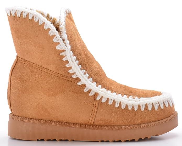 Rebajas Botín Estilo Australiano con Cuña Interior y Pespuntes Bordados, Forrada con Pelo.: Amazon.es: Zapatos y complementos