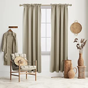 Deconovo Beige Blackout Curtains Rod Pocket Curtain Panels Room Darkening Curtains for Living Room 52 W x 84 L Inch 2 Panels