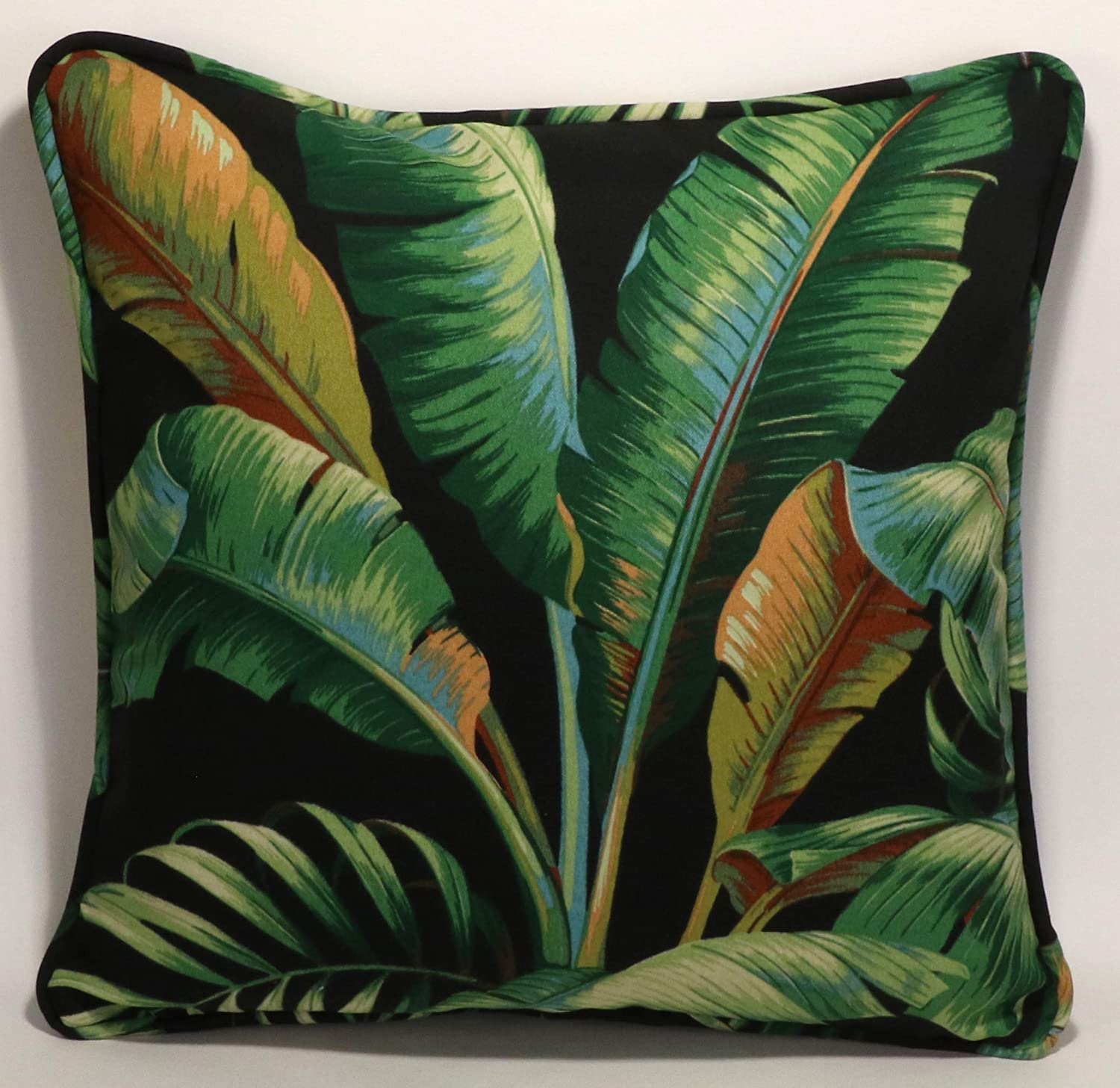 """A set of 8 8"""" Tommy Bahama Outdoor Fabric Palmiers Caviar Black and Green  Tropical Throw Pillows & Forms"""
