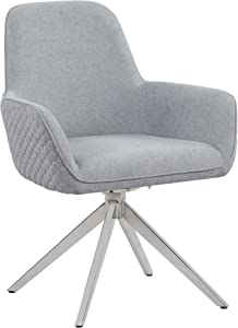 Coaster Home Furnishings Abby Flare Arm Light Grey and Chrome Side Chair