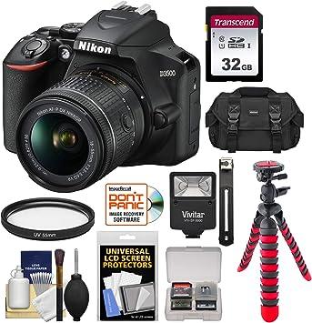 Case Kit Tripod Flash Nikon D3500 Digital SLR Camera /& 18-55mm VR DX AF-P Lens with 32GB Card