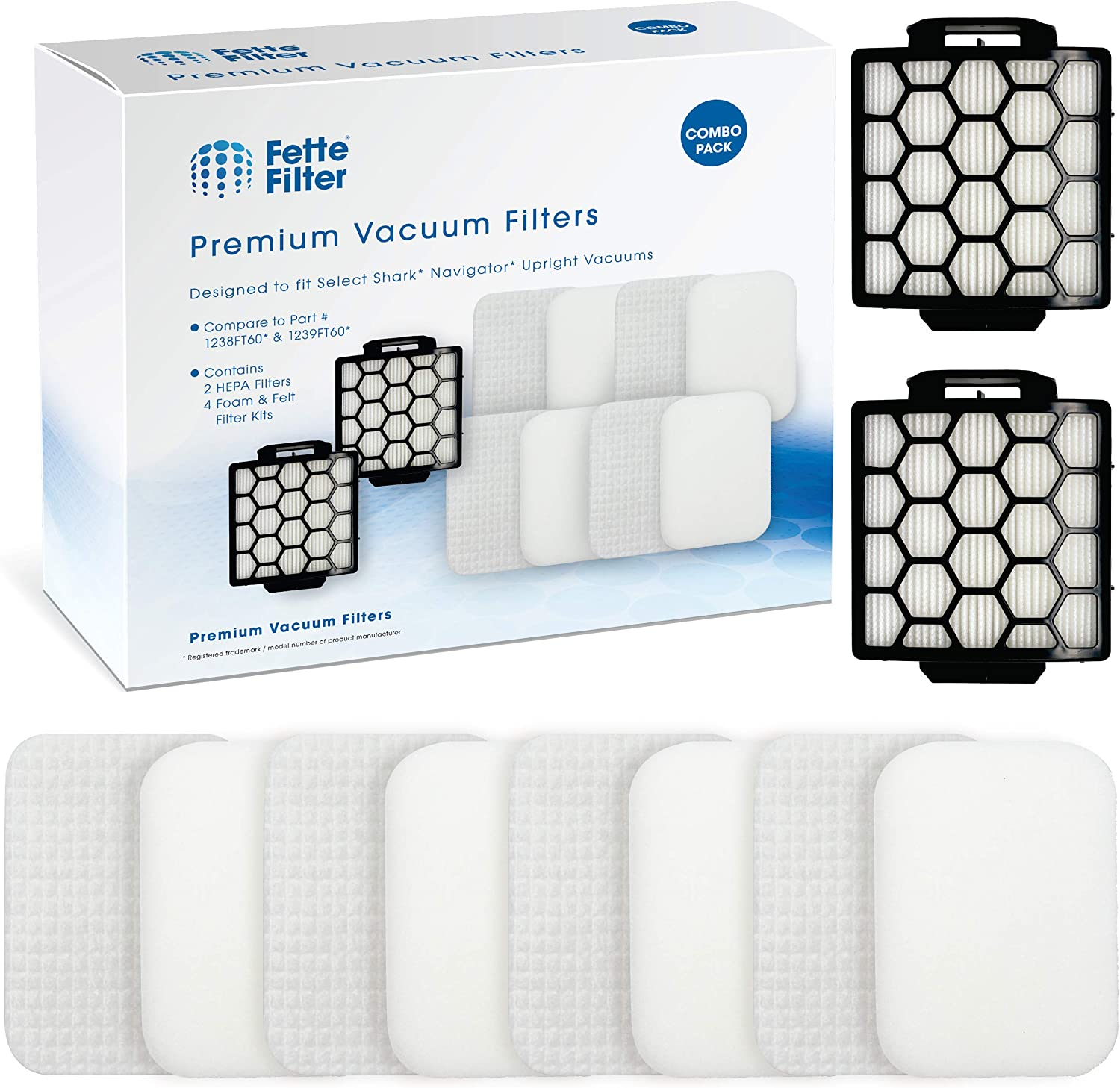 Fette Filter 2 HEPA & 4 Foam Filters for Shark Navigator Pet Plus NV150, NV251,NV255 and Zero-M Self-Cleaning Brushroll Pet Pro ZU62,ZU62C,ZU60 Upright Vacuum, Replacement Parts # 1238FT60 & 1239FT60