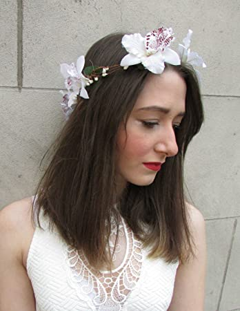 Amazon white orchid flower garland headband beach bridal white orchid flower garland headband beach bridal festival wedding tropical i22 exclusively sold by starcrossed mightylinksfo