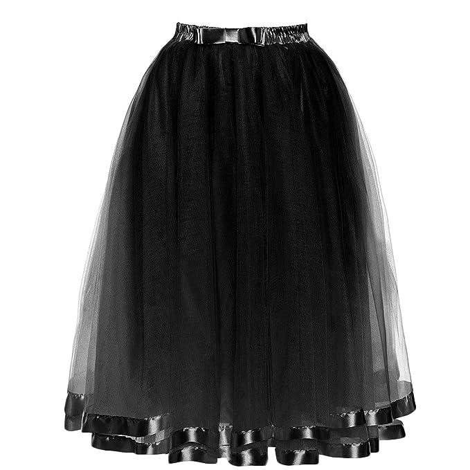 708a1e4268 Udresses Womens 50s Rockabilly Petticoat Tutu Skirt Crinoline Underskirt  PS13 Black X-Small