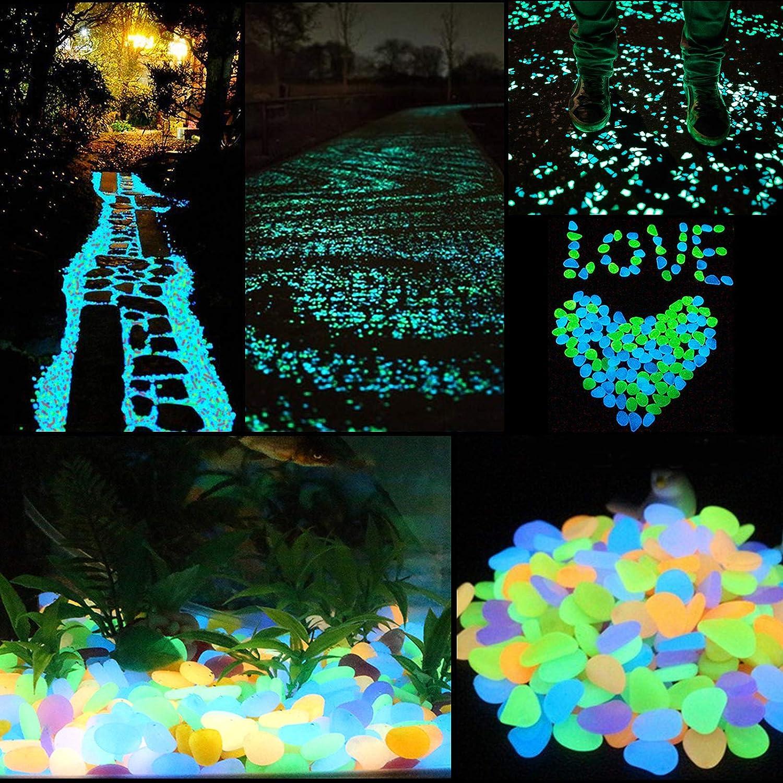 ZoomSky 200 St/ücke Leuchtsteine Blau und Gr/ün Leuchtende Kieselsteine Fluoreszierende Steine f/ür Aquarium Garten Kindergeburtstag Dekoration