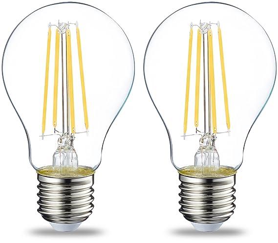 AmazonBasics Bombilla LED Esférica E27 con Filamento, 7W (equivalente a 60W), Blanco Cálido - 2 unidades: Amazon.es: Iluminación