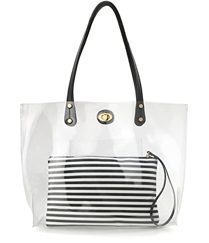 a6860e8b1828 PVC Clear Womens Tote With Striped Zipper Clutch Weekender Shoulder Handbag  (Black White Stripes)