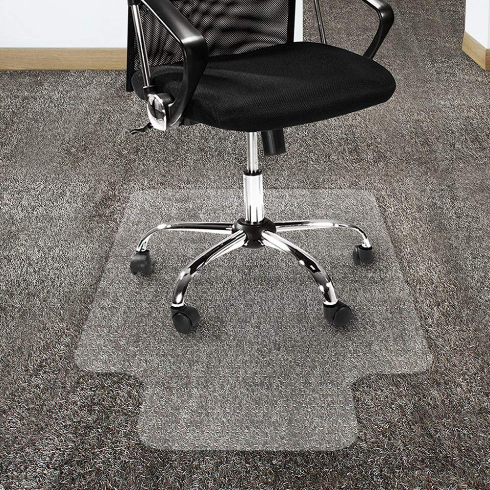 CHAIR MAT PVC for Carpet Floor   Floor Protector for High Pile Carpets   2mm Thick   Studded Backing Have Lip,90x120cm(35.4''x47'')-StuddedBacking