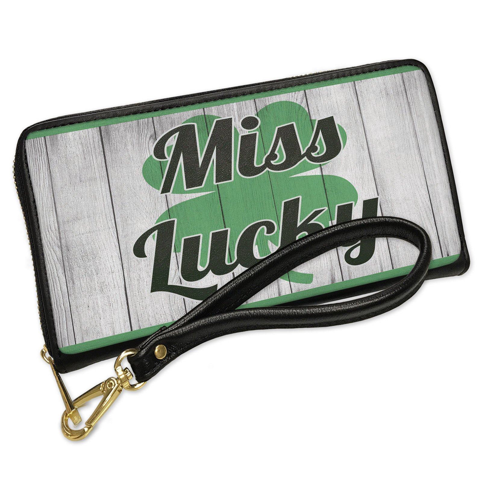 Wallet Clutch Miss Lucky St. Patrick's Day Shamrock on Wood with Removable Wristlet Strap Neonblond
