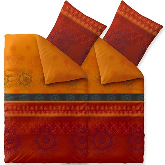 CelinaTex Fashion Bettwäsche 4tlg 135 x 200 cm Baumwolle Bettbezug Set 80 x 80 cm Kissenbezug 6000005 Legra rot orange grau