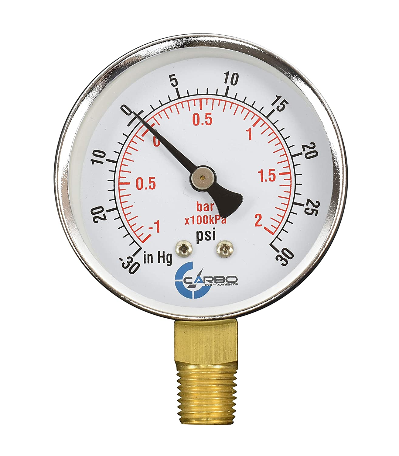"""CARBO Instruments 2-1/2"""" Pressure Gauge, Chrome Plated Steel Case, Dry, Compound Vacuum -30 Hg - 0-30 psi Lower Mount 1/4"""" NPT"""