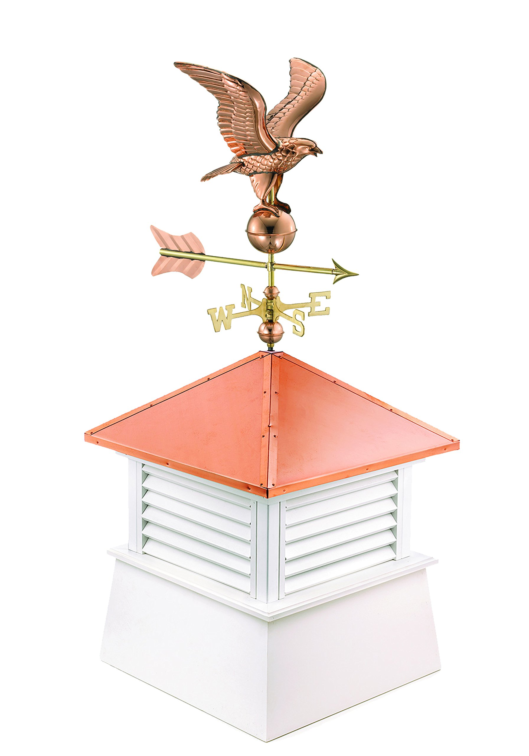 "Manchester Vinyl Cupola with Eagle Weathervane, Perfect Size for a 1 Car Garage, 26"" square x 56"" high, Pure Copper Roof"