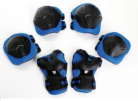 Protecciones de Seguridad con Almohadillas para Rodillas, Codos, Palmas, Muñecas,BMX, Bicicleta, Skate, Monopatín,Niño Rodillo,Patinaje POR MIRX (Azul): Amazon.es: Deportes y aire libre