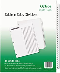 Office Essentials 11680 Table 'n Tabs Dividers, 31-Tab, Letter