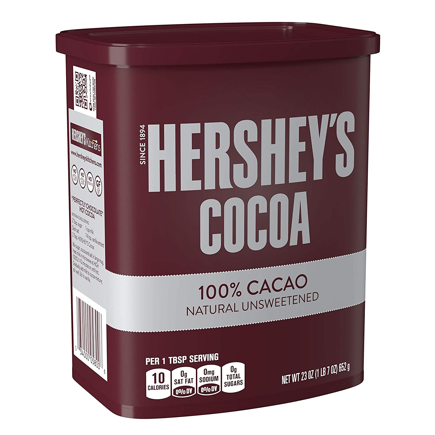 HERSHEY'S Natural Unsweetened 100% Hot Cocoa, Baking, 23 Ounce Can - PACK OF 3