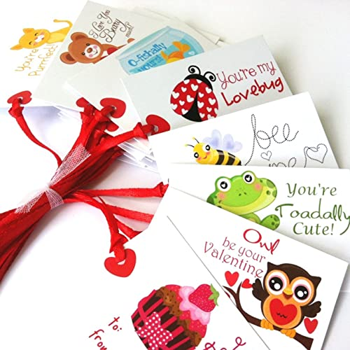 Valentine's Day Gift Tags with Animal Phrase - Set of 24