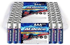 Powermax USA ACDelco AAA Batteries, Alkaline Battery, Bulk Pack, 100 Count