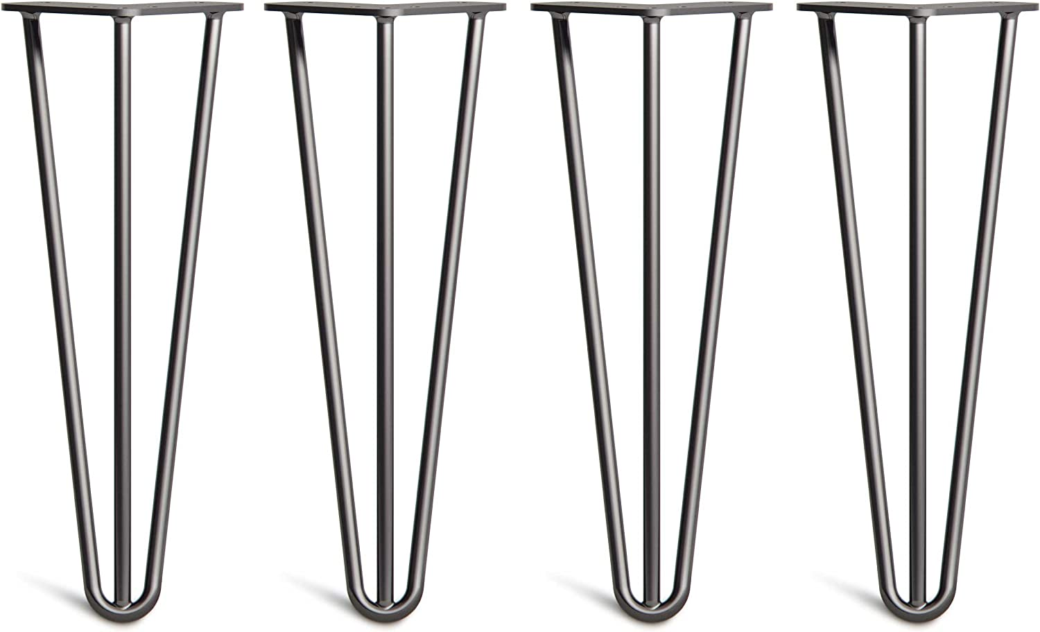 Superior Double Weld Steel Construction with Free Screws Build Guide /& Protector Feet HLC 4 x Hairpin Table Legs All Finishes Classic 3//8 4, 2 Rod, Black Worth $10 4 to 34