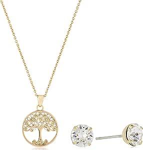 MESTIGE Women Crystal Golden Back to Nature Set with Swarovski Crystals
