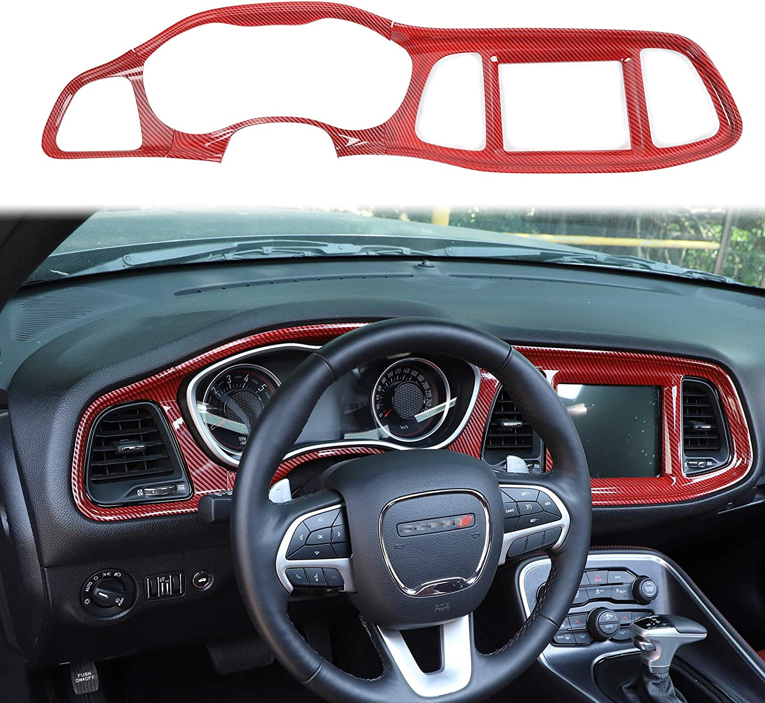 Voodonala for Challenger Gear Shift Panel Trim for 2015-2020 Dodge Challenger ABS Red