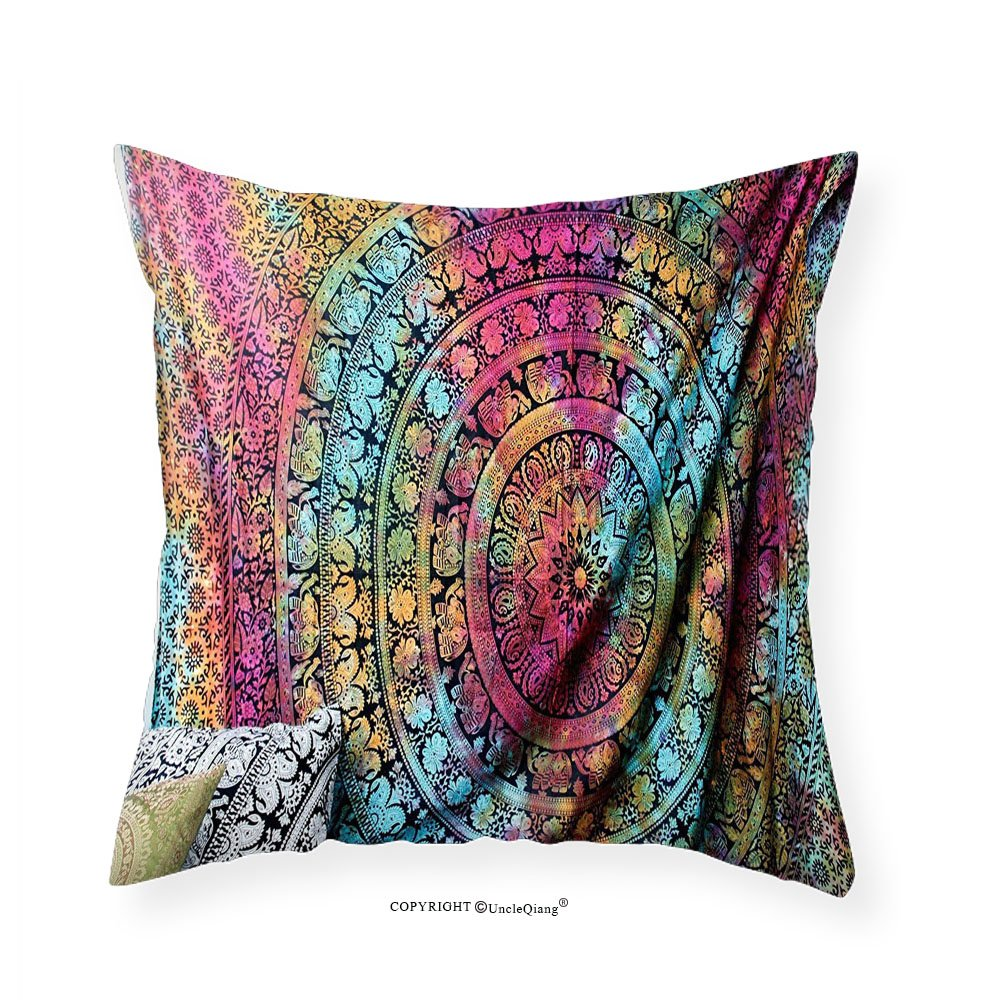 VROSELV Custom Cotton Linen Pillowcase New launched Popular Twin tye dye Hippie Elephant Mandala Indian Traditional Beach Throw Art College Dorm Bohemian Boho Twin By Popular Handicrafts 14''x14
