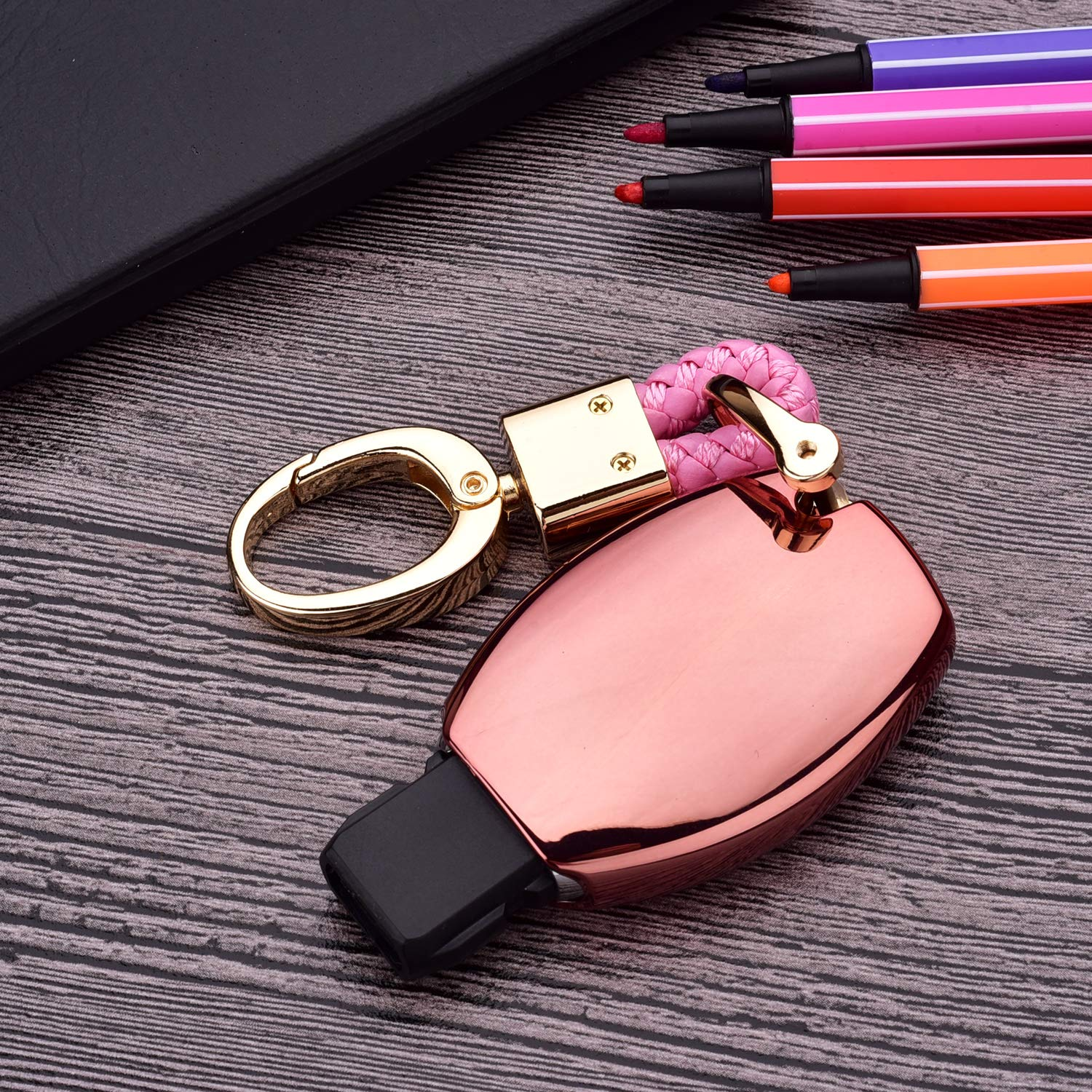 Rose Gold TM Royalfox Luxury 2 3 Buttons Soft Chrome Colored TPU Smart Key Fob case Cover for Mercedes-Benz A C E S Class Series,GLK CLA GLA GLC GLE CLS SLK AMG Series