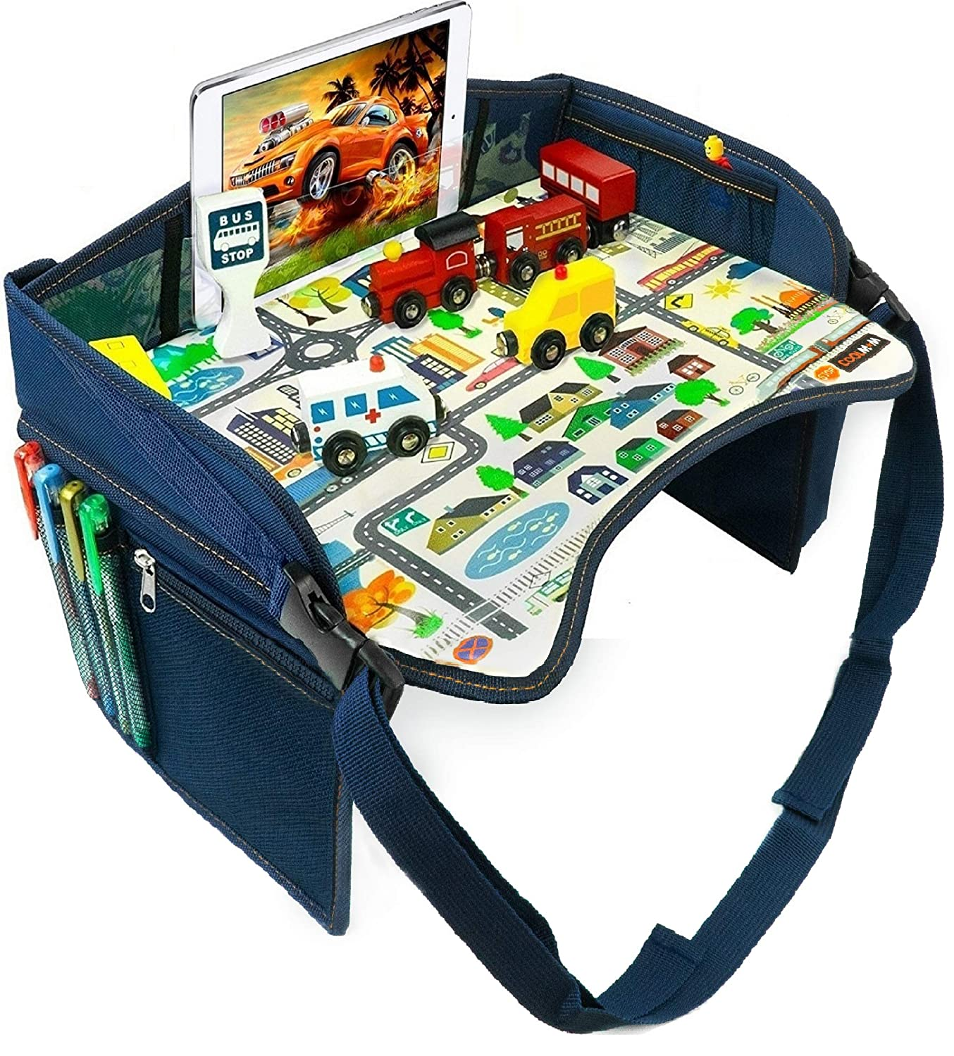 Road Trip Essential Lap Desk for Carseat Airplane Kids Travel Activity /& Snack Tray by On The Go Families Blue Booster Child /& Toddler Car Seat Tray Waterproof /& Machine Washable Stroller