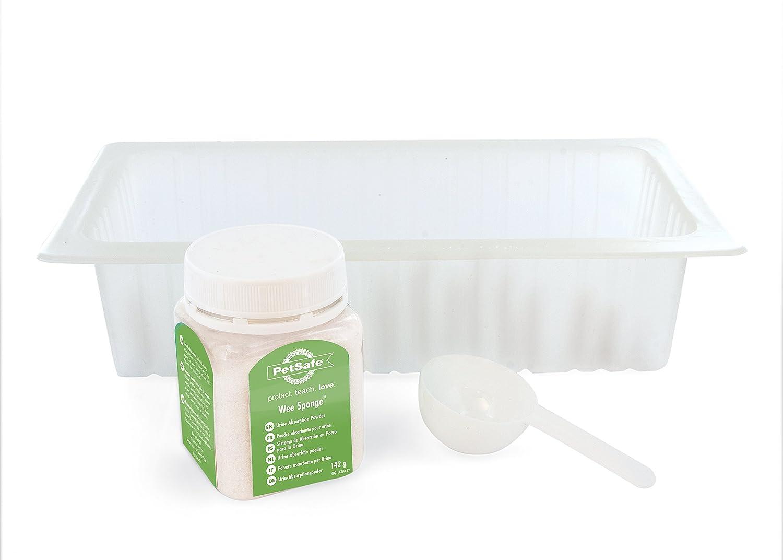 Kit d'Elimination d'Urine PetSafe Pee-Pod, 7 x Bacs de Collection + Poudre d'Absorption Wee Sponge 142 g, Hygiénique, Nettoyage Facile, Spécial pour Pet Loo PAC19-14326