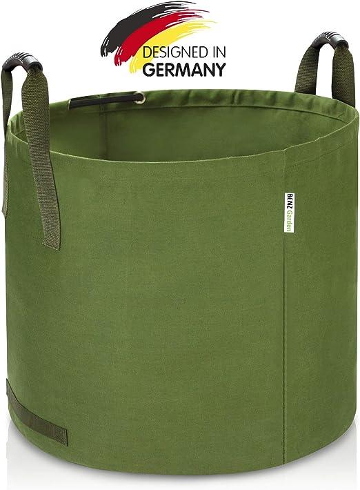 BENZ Garden® - Saco de basura de jardín de 125 L, saco de hojas de tejido de lino resistente, bolsa de jardín plegable de gran versatilidad, bolsa de jardín para césped: Amazon.es:
