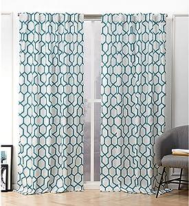 Nicole Miller Hexa Curtain Panel, 54x84, Teal, 2 Panels