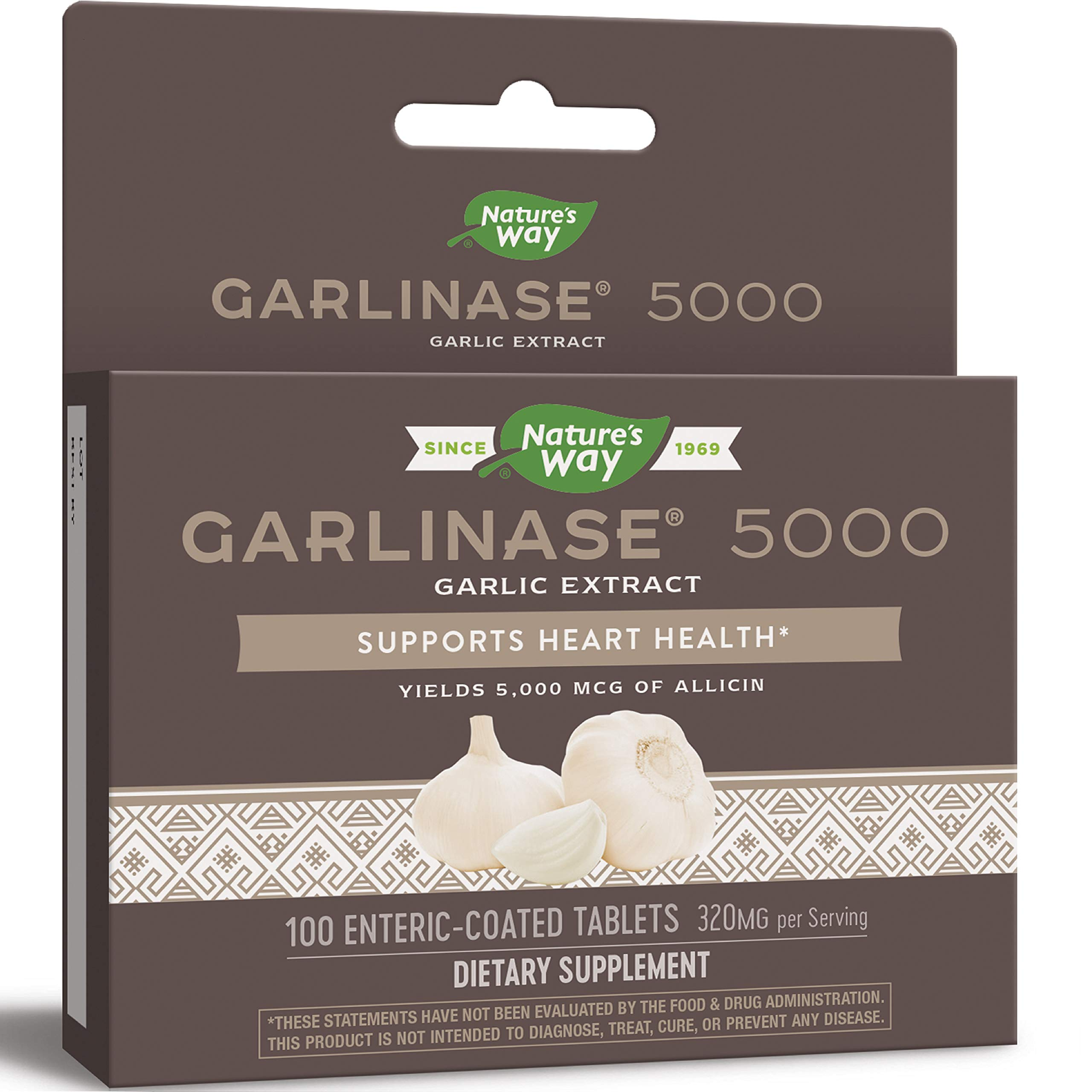 Nature's Way Garlinase 5000; 3.4% Garlic Extract Per Serving; 100 Enteric-Coated Tablets (Packaging May Vary) by Nature's Way