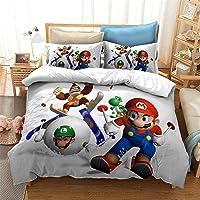 SMNVCKJ Super Mario - Juego de ropa de cama y funda de almohada con diseño de coche de carreras 3D, microfibra, para…
