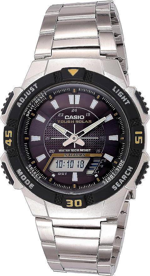 Casio Tough Solar AQS800WD-1EV - Reloj (Acero inoxidable, 89 g, 47,6 x 42 x 10,6 mm, Plata): Amazon.es: Relojes