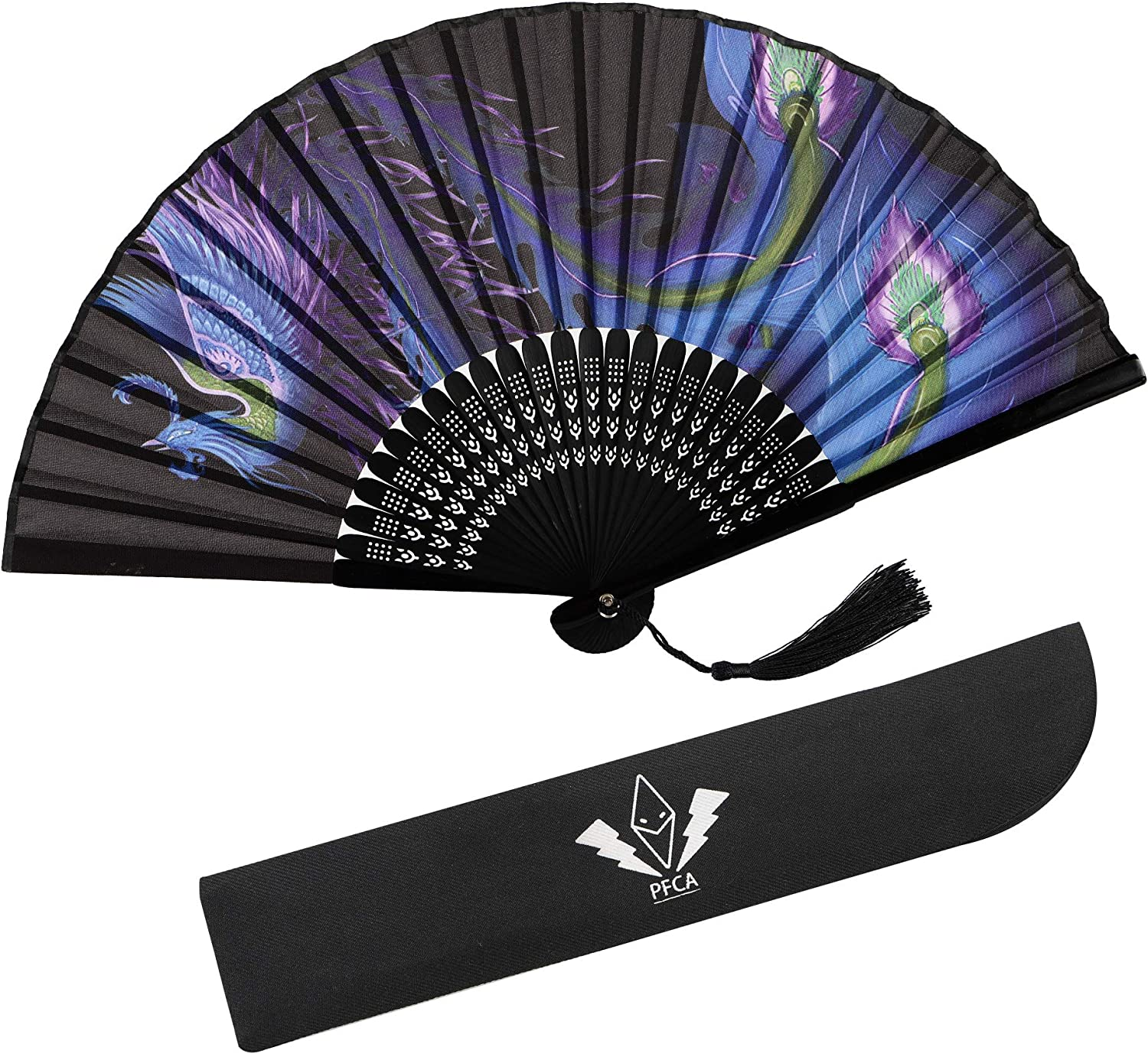 PFCA Folding Fans Handheld Silk Sleeve for Protection for Women Scent Bamboo Chinese/Japanese for Wedding Dancing Decoration Party Gifts (Phoenix)