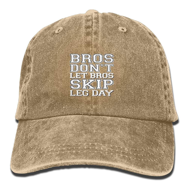 JTRVW Bros Dont Let Bros Skip Leg Day New Hot Fashion Adjustable Washed Cap Cowboy Baseball Hat Natural