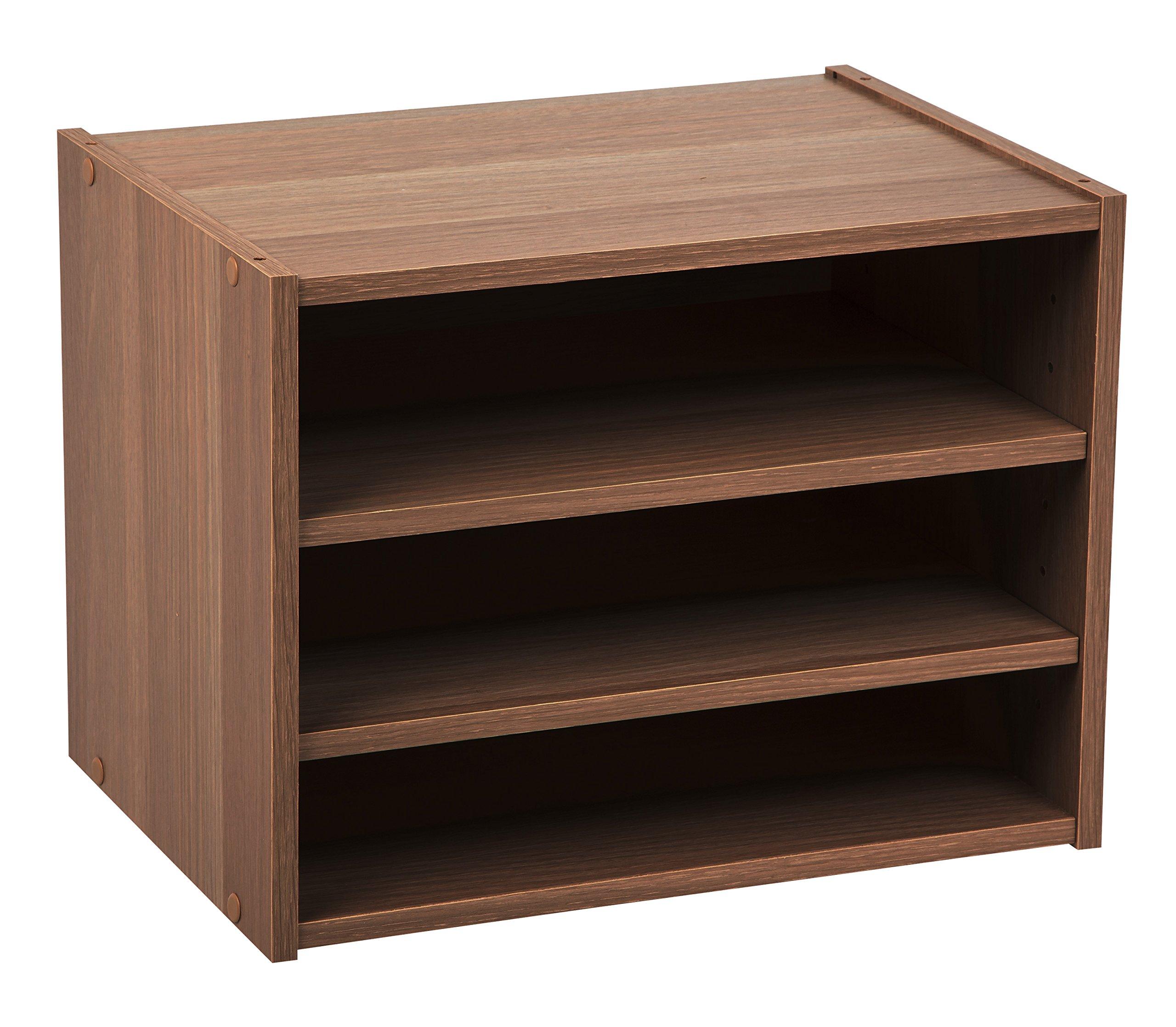 IRIS USA, SBS-DB, Modular Wood Storage Organizer Cube Box with Adjustable Shelves, Dark Brown, 1 Pack