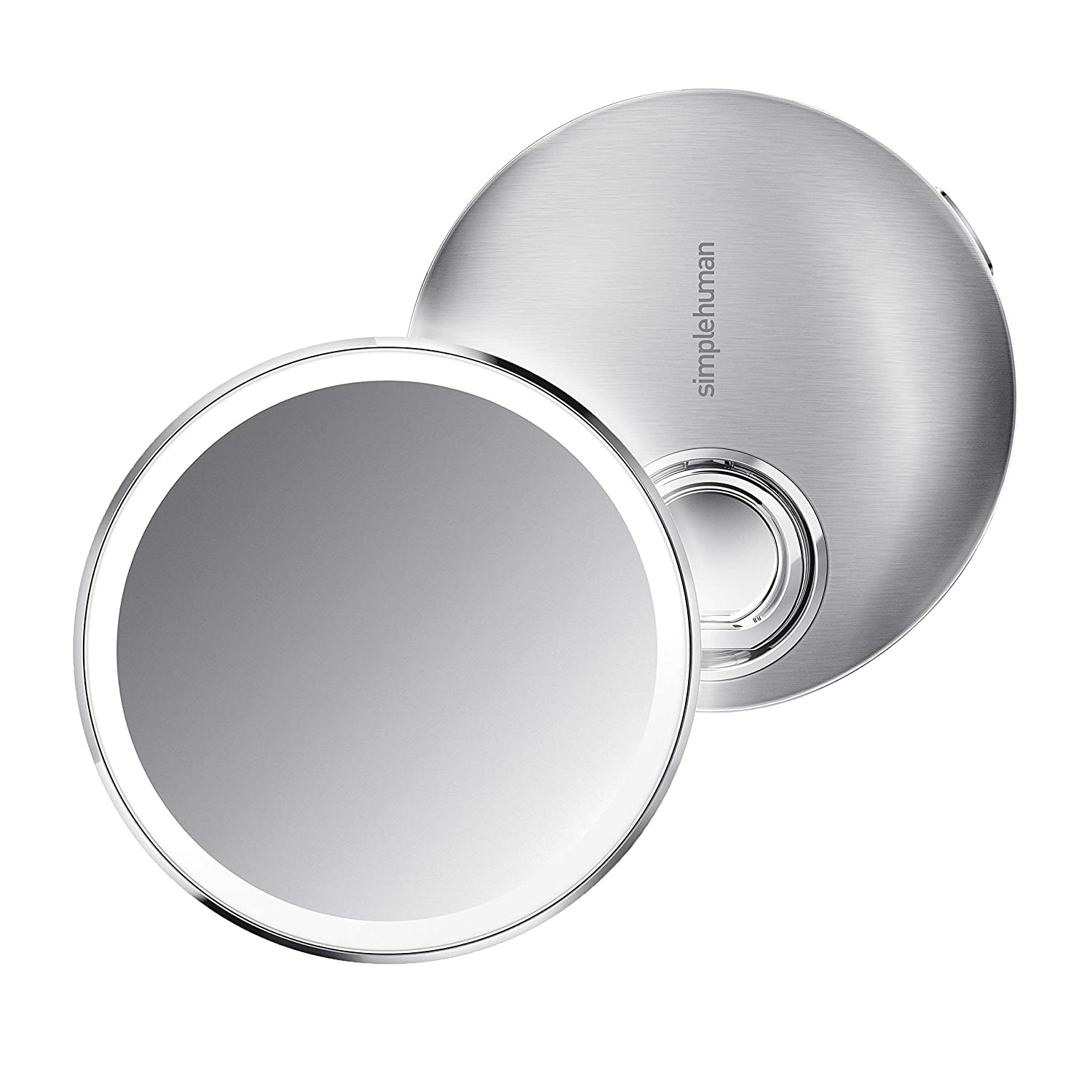 """simplehuman Sensor Mirror Compact 4"""" Round, 3X Magnification, Brushed Stainless Steel"""