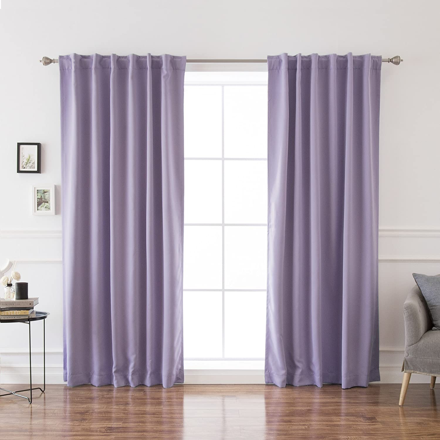 Best Home Fashion Premium Blackout Curtain Panels - Solid Thermal Insulated Window Treatment Blackout Drapes for Bedroom - Back Tab & Rod Pocket – Lavender - 52